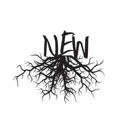 Shape of black Tree Roots. Vector Illustration.