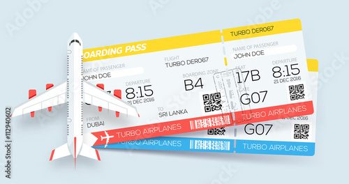 Airline boarding pass tickets. Booking tickets. Two tickets on ...