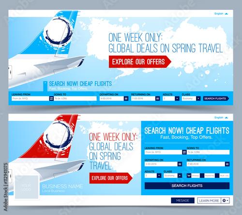Booking tickets flight Template. Search Flights. Web Banner, Header ...