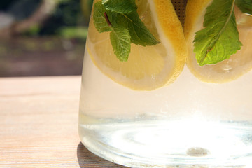 Water with citrus and mint