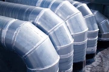 industrial ventilation pipes. hvac. Industrial steel air conditioning and ventilation systems