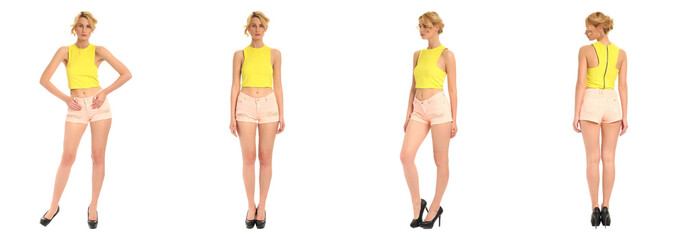 Young and beautiful woman in beige shorts isolated