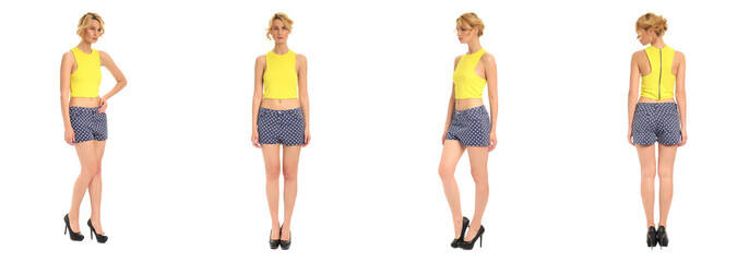 Young and beautiful woman in dotted shorts isolated