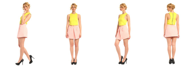 Young and beautiful woman in pink skirt isolated