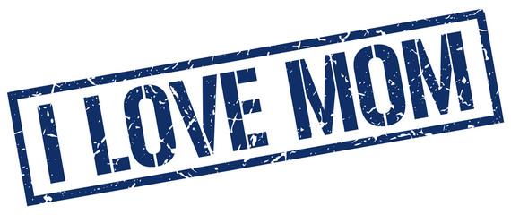 i love mom blue grunge square vintage rubber stamp
