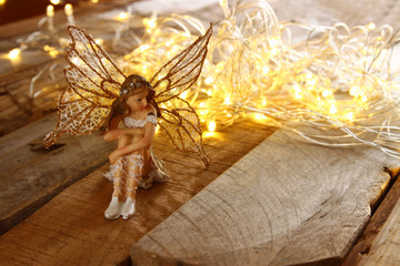 image of magical little fairy in the forest next to old story book. vintage filtered