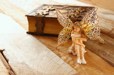 magical little fairy in the forest next to old story book