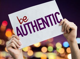Be Authentic placard with night lights on background Wall mural