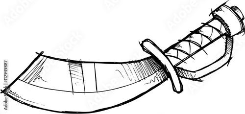 Pirate Sword Doodle Sketch Vector
