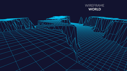 Wireframe Landscape mountain  Background. Futuristic Landscape with line Grid. Low Poly 3D Wireframe Mapping. Network Cyber Technology background