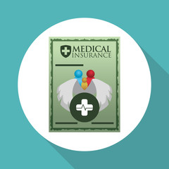 Medical care design. Health care icon. White background, vector