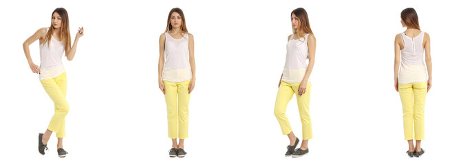 Young and beautiful student in yellow pants isolated
