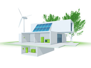Energieeffizienz-Haus – Smart Energy: 3d-Illustration