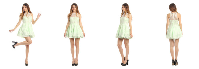 Young and beautiful student in lime dress isolated