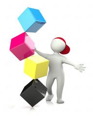 3D Man CMYK cubes