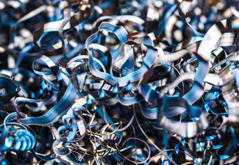 Closeup twisted spiral steel shavings