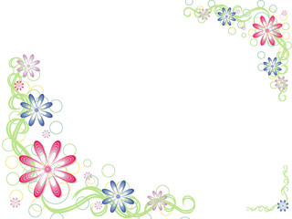 Vector illustration of abstract floral background frame.