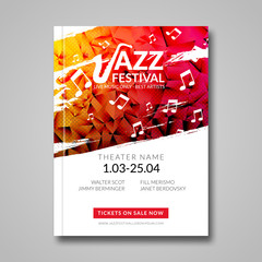 Vector musical flyer Jazz festival. Music background festival brochure flyer template