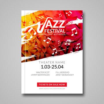 Vector musical flyer Jazz festival. Music background festival brochure flyer template