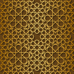 Arabic pattern gold style. Traditional east geometric decorative background.