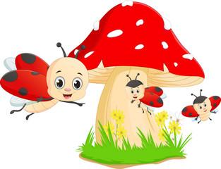 cute cartoon ladybug with red mushroom