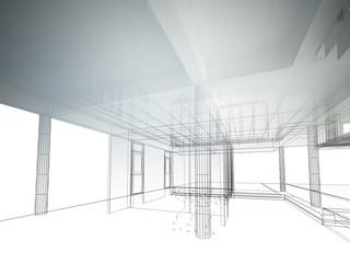 sketch design of interior space ,3d wire frame render