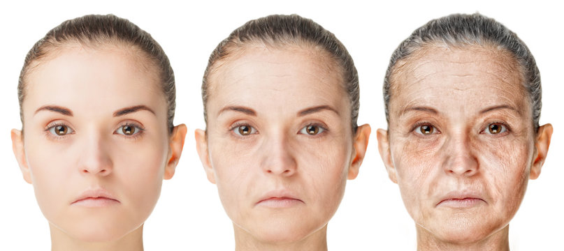 Aging process, rejuvenation anti-aging skin procedures old and young faces isolated on white background