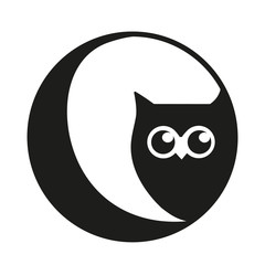 Owl and moon vector logo icon, study and education, logo bird white background