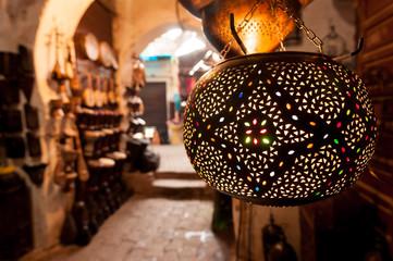 Lanten shop Marrakech souk.