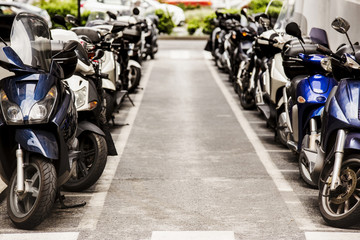 Motorcycles parked in City