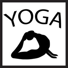 Girl in yoga position. Black female silhouette on white background. Vector woman shape icon. illustration of Yoga pose. Logo design. Yogi in asana. Design element for poster, studio, fitness center.