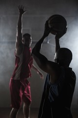 Portrait of two men playing basketball