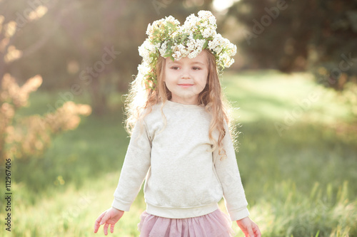 Prime Smiling Kid Girl 5 6 Year Old With Flower Hairstyle Outdoors Hairstyle Inspiration Daily Dogsangcom