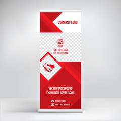 The roll-up banner, design, template stand, red polygonal background, vector
