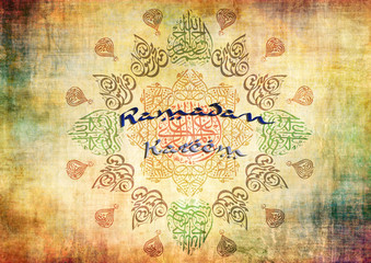 Ramadan Kareem - islamic muslim holiday celebration background with Oriental Arabic style round ornament made of arabesque Quran calligraphy, and copy space for text. Vintage artistic feel.
