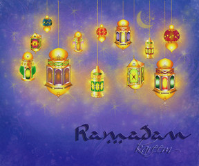 Ramadan Kareem - islamic muslim holiday blessing background or greeting card, with hanging oriental eid lamps and lanterns