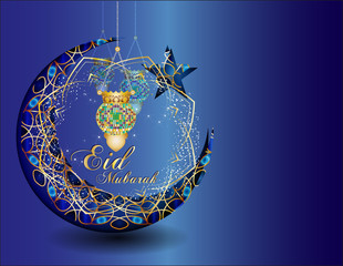 Eid Mubarak Ramadan kareem - muslim islamic holiday celebration greeting card or wallpaper with golden arabic ornaments, calligraphy, crescent with a star and eid fanous lantern