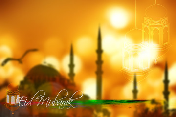 Eid Mubarak- islamic muslim holiday background or greeting card, with ornamental arabic oriental background and calligraphy, mosque silhouette and eid holiday lanterns or lamps, abstract vintage