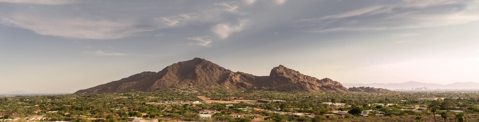 Wall Mural - Phoenix,Az, Camelback Mountain, Wide extra detailed banner style landscape image