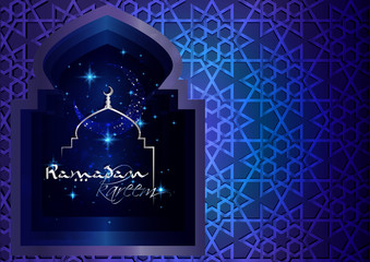 Ramadan Kareem - Ramadan Background mosque window with arabic arabesque pattern paper cutout, with arabic calligraphy and mosque silhouette. Greeting card or wallpaper background.