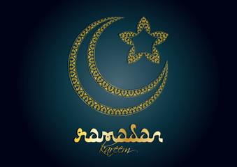 Ramadan kareem - muslim islamic holiday celebration greeting card or wallpaper with golden arabic ornaments, calligraphy, crescent with a star and copy space for text