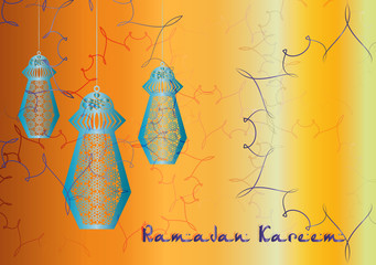 Ramadan Kareem - colorful eid lanterns hanging from the ropes with decorations arab arabesque style. Islamic muslim holiday background with copy space for text.