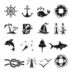 Black marine icons