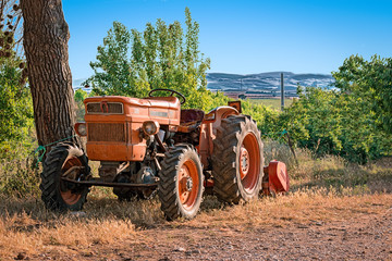 red tractor in farm