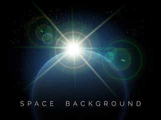 Space background with planet and shining star