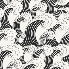 Hand drawn vector seamless pattern. Modern stylish monochrome background with structure of repeating big waves. Monochrome illustration in traditional Japanese style.