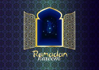 Ramadan Kareem - Ramadan Background mosque window with arabic arabesque ornamental pattern. Greeting card or wallpaper background.