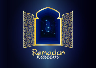 Ramadan Kareem - Ramadan Background mosque window with arabic arabesque ornamental pattern. Greeting card or wallpaper background.