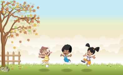 Green grass landscape with cute cartoon kids jumping.