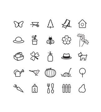 Jardin, Loisirs, Saison, Nature, Jardinage, Pictos, Icônes